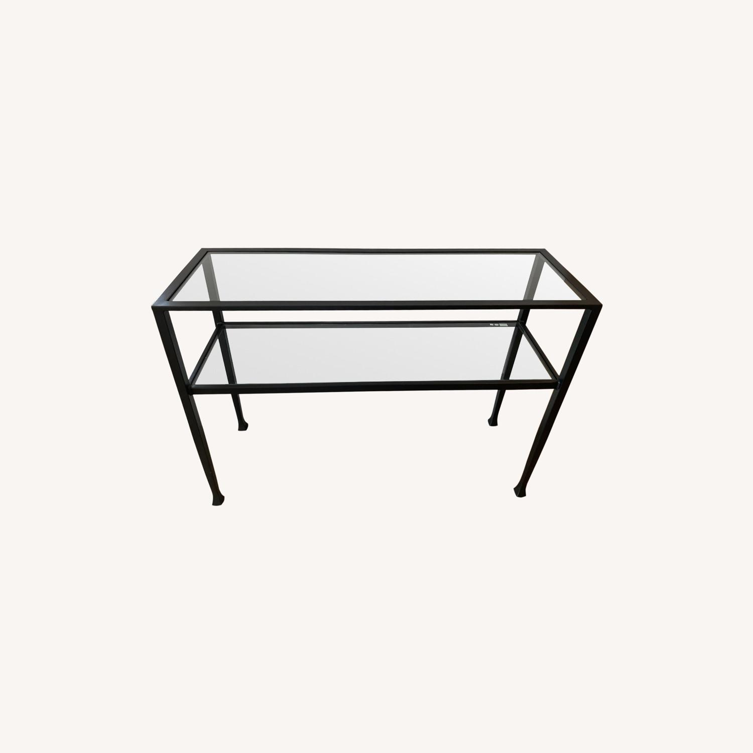 Pottery Barn Glass Console Table - image-0