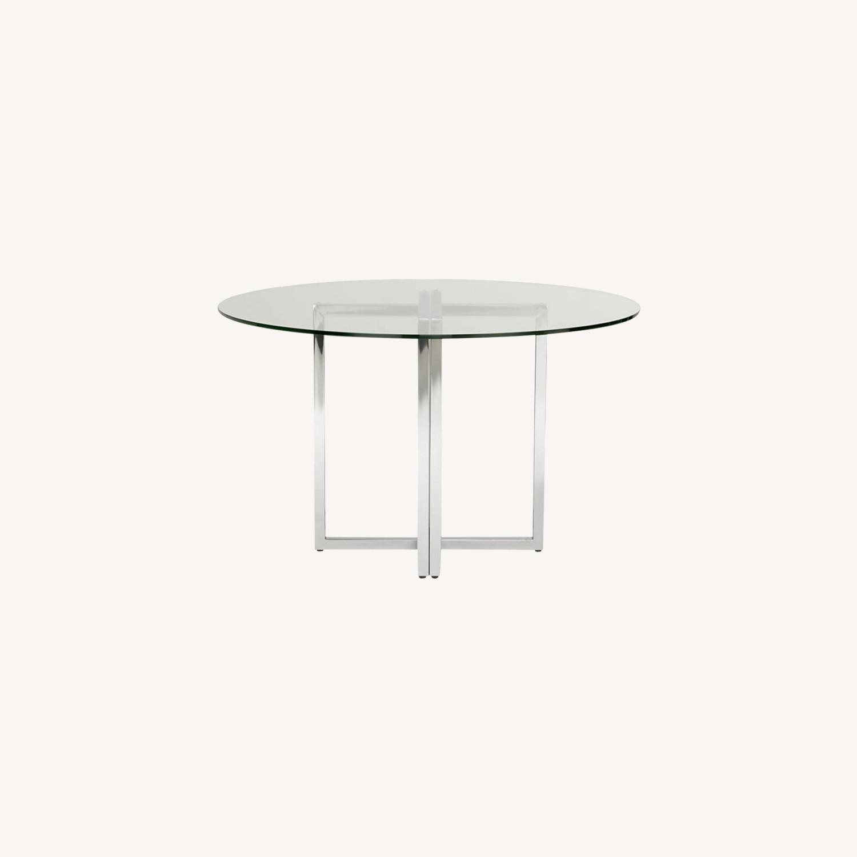 CB2 Silveradon Chrome Round Dining Table - image-0