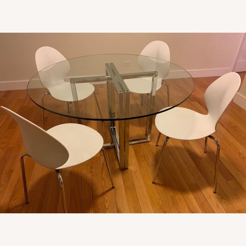 CB2 Silveradon Chrome Round Dining Table - image-1