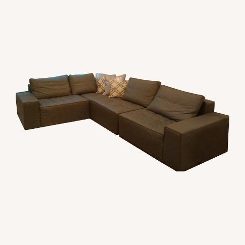 Used Calligaris Grey Leather Sofa for sale on AptDeco