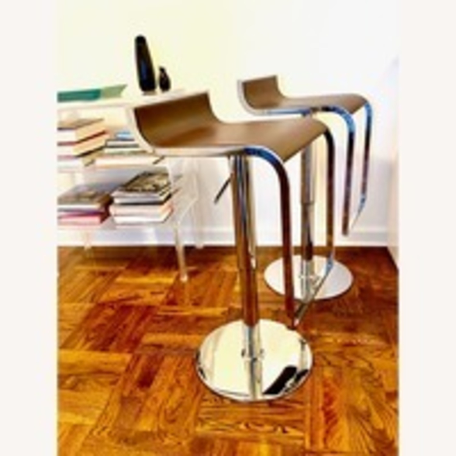2 Design Stools with Dark Brown Leather Seat - image-2