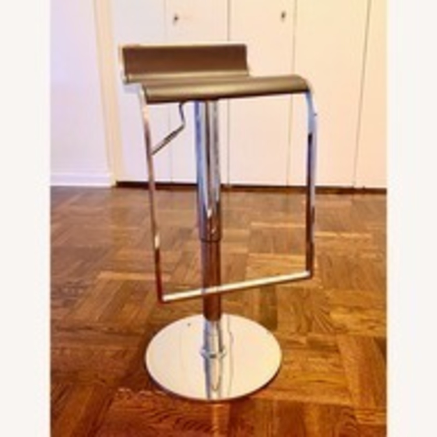 2 Design Stools with Dark Brown Leather Seat - image-1