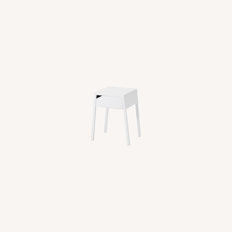 Ikea White Metal Nightstands By Monica Mulder Aptdeco