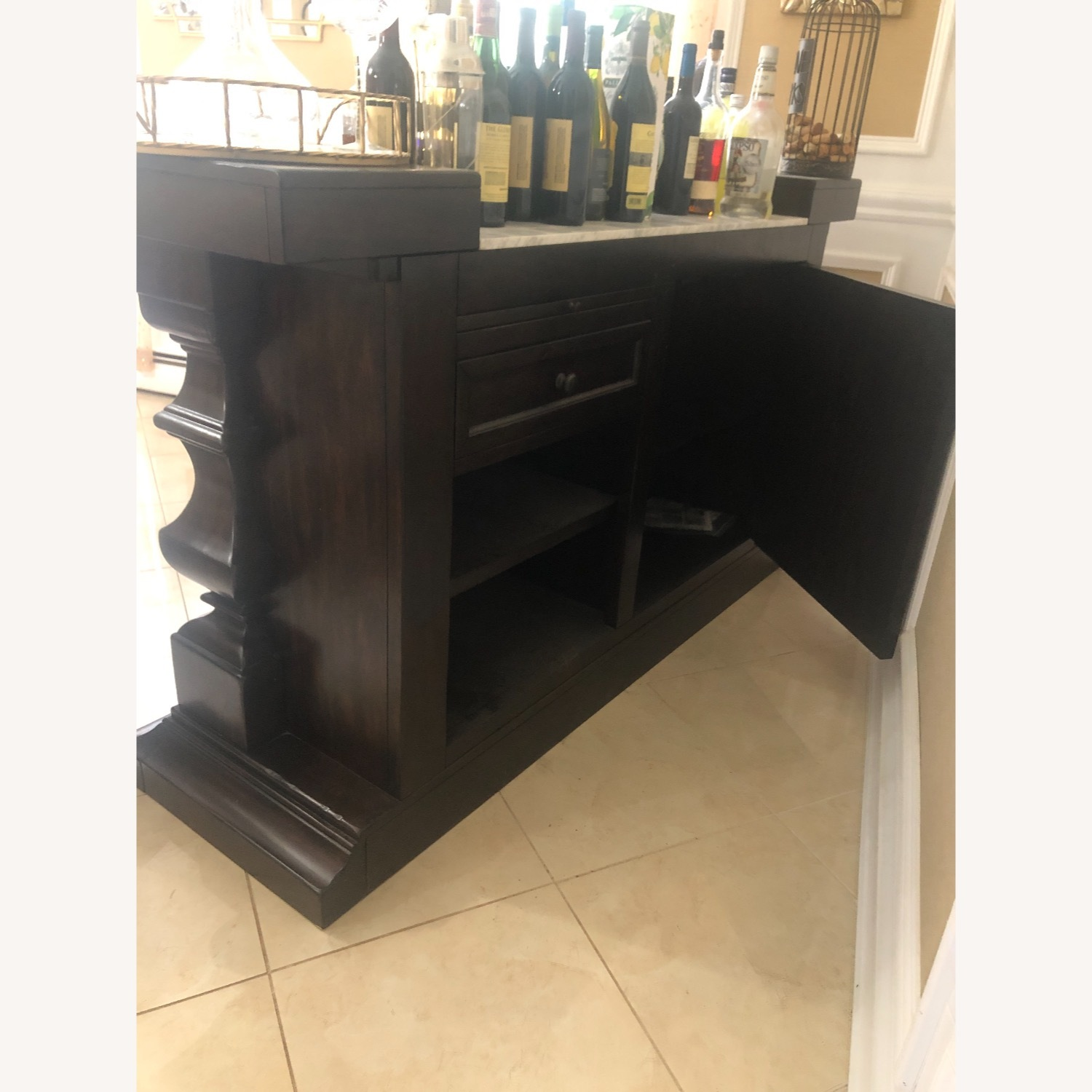 Pottery Barn Bar with Marble Top - image-1