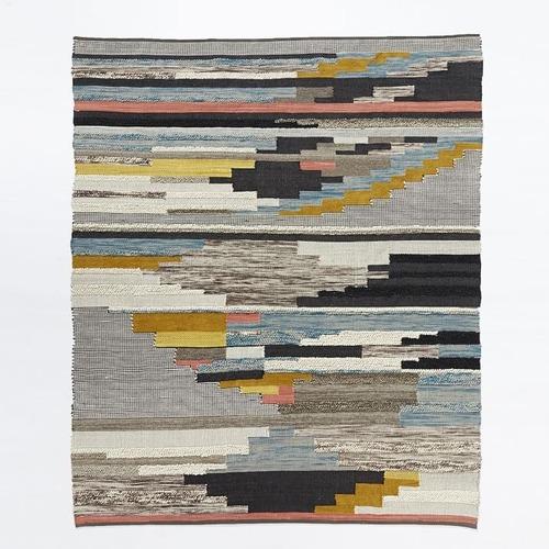 Used West Elm Multi Pixel Woven Wool Rug for sale on AptDeco