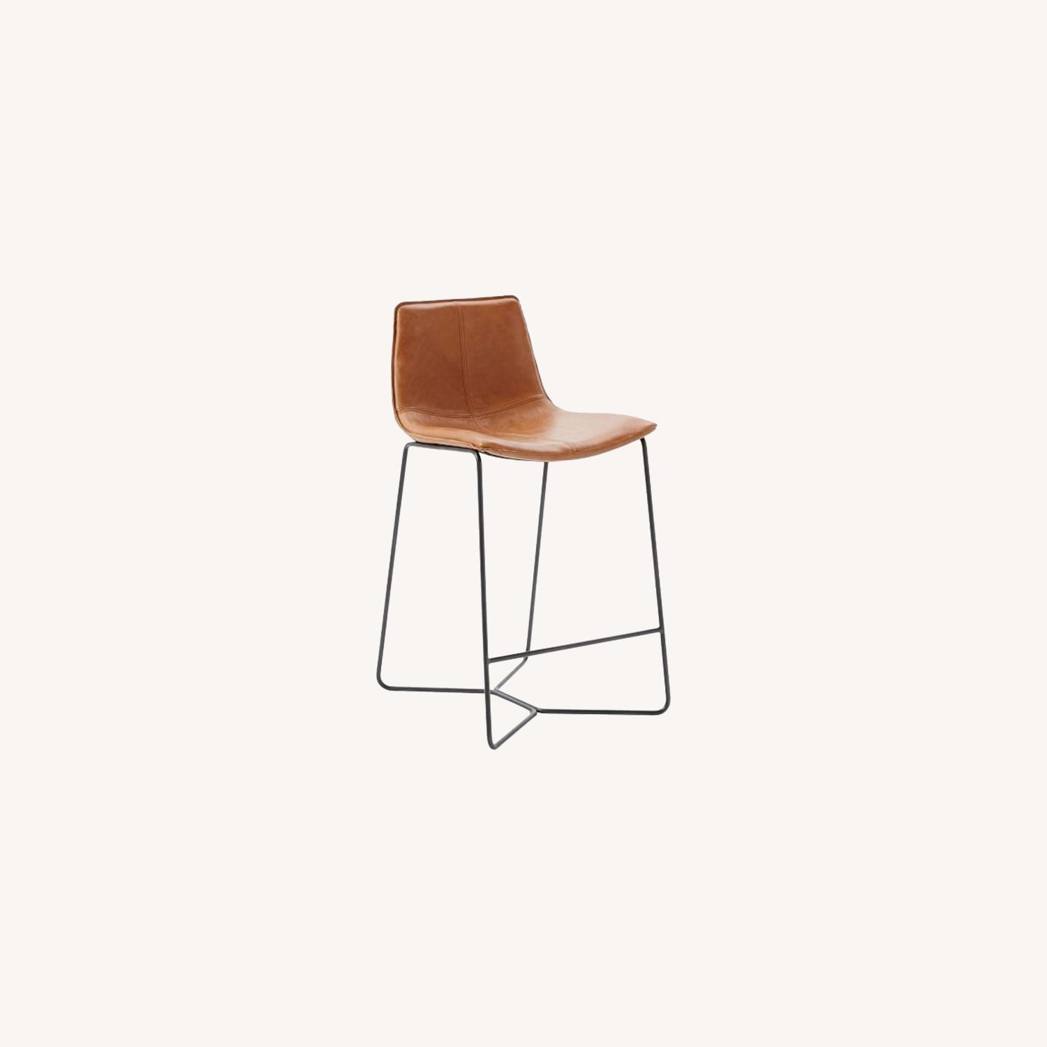 West Elm Leather Slope Counter Stool - image-0