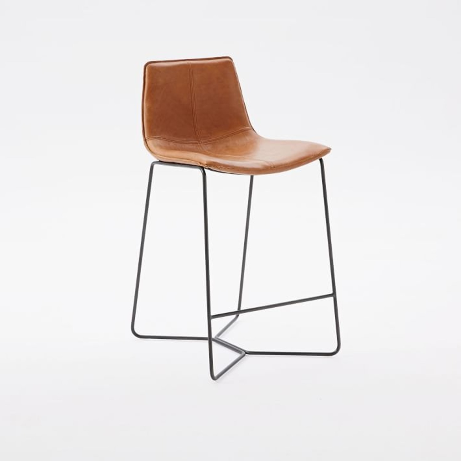 West Elm Leather Slope Counter Stool - image-1