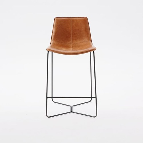 Used West Elm Leather Slope Counter Stool for sale on AptDeco