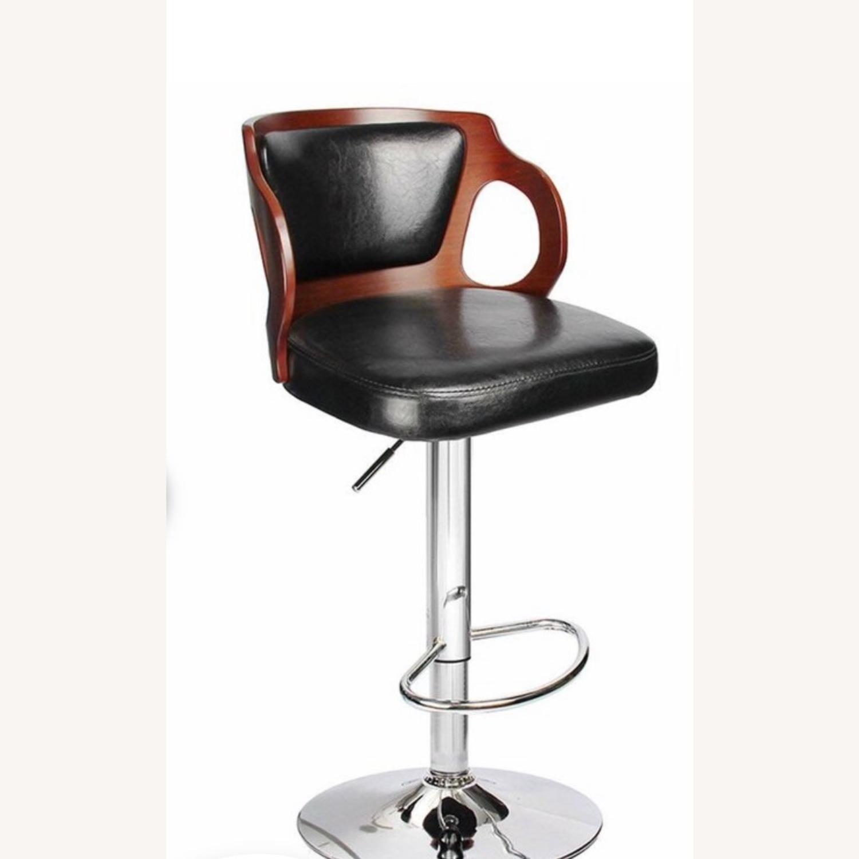 Hartung Adjust Height Swivel Bar Stool Black Brown - image-1
