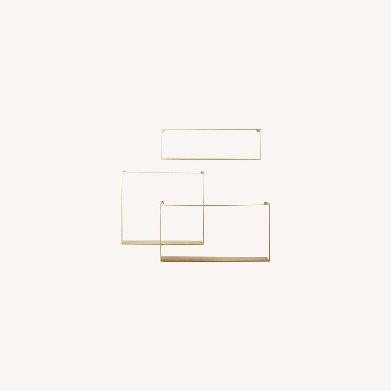 CB2 Antiqued Brass Large Floating Shelves - image-0