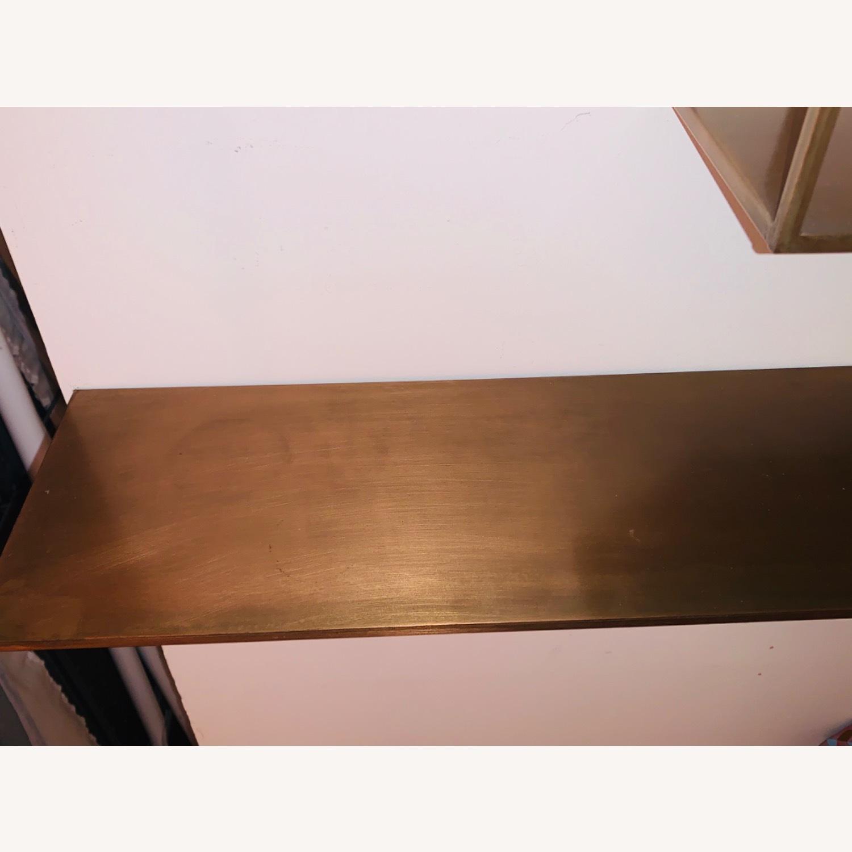 CB2 Antiqued Brass Large Floating Shelves - image-3