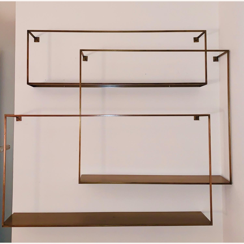 CB2 Antiqued Brass Large Floating Shelves - image-2