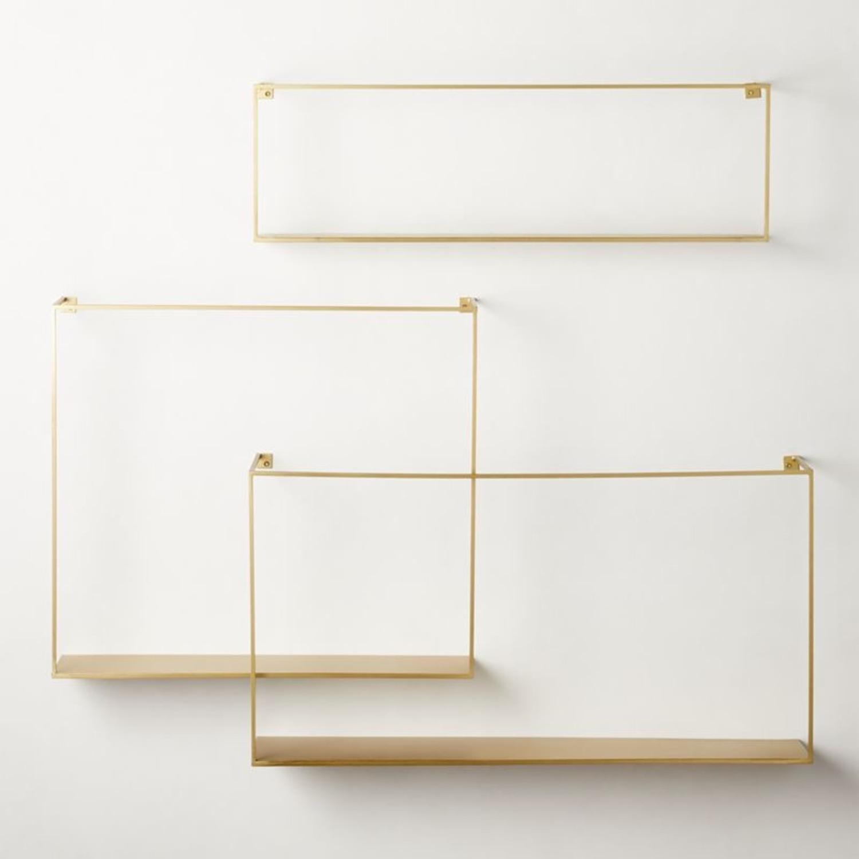 CB2 Antiqued Brass Large Floating Shelves - image-1