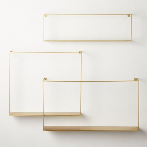 Used CB2 Antiqued Brass Large Floating Shelves for sale on AptDeco