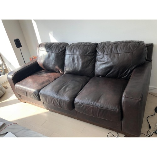 Used Ashley Crestwood Brown Leather Couch for sale on AptDeco