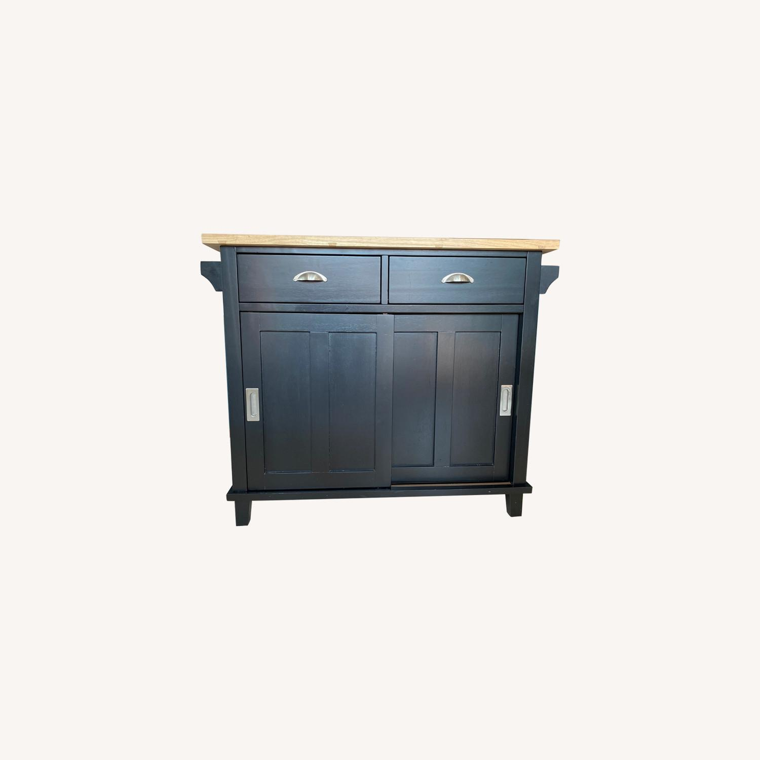 Crate & Barrel Belmont Black Kitchen Island - image-0