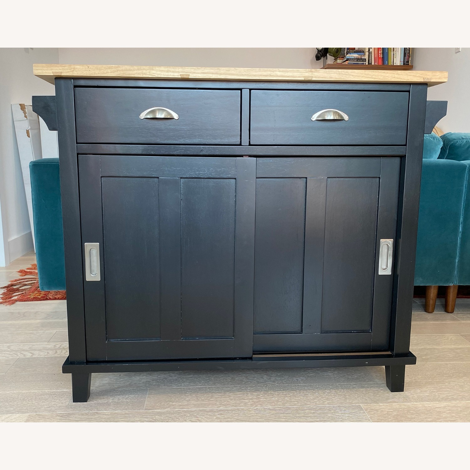 Crate & Barrel Belmont Black Kitchen Island - image-1