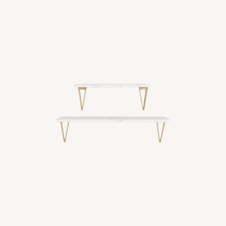 World Market White Marble Wall Shelves & Gold Brackets - image-0