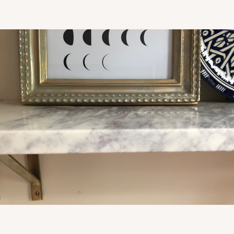 World Market White Marble Wall Shelves & Gold Brackets - image-6