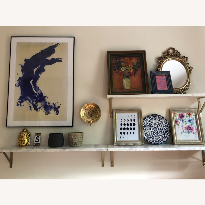 World Market White Marble Wall Shelves & Gold Brackets - image-5