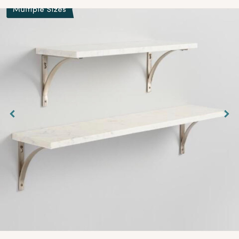 World Market White Marble Wall Shelves & Gold Brackets - image-3