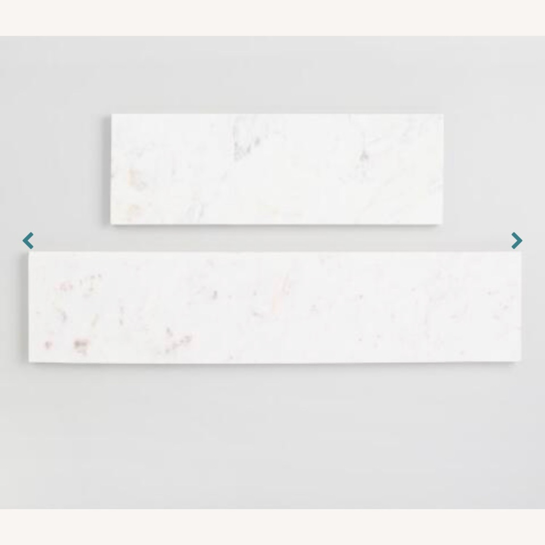 World Market White Marble Wall Shelves & Gold Brackets - image-2