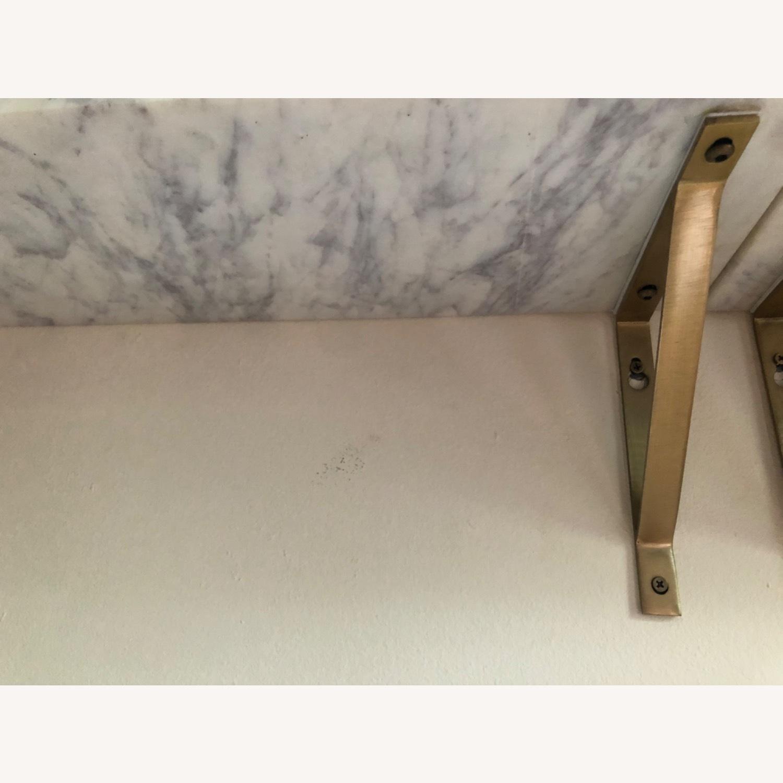 World Market White Marble Wall Shelves & Gold Brackets - image-4