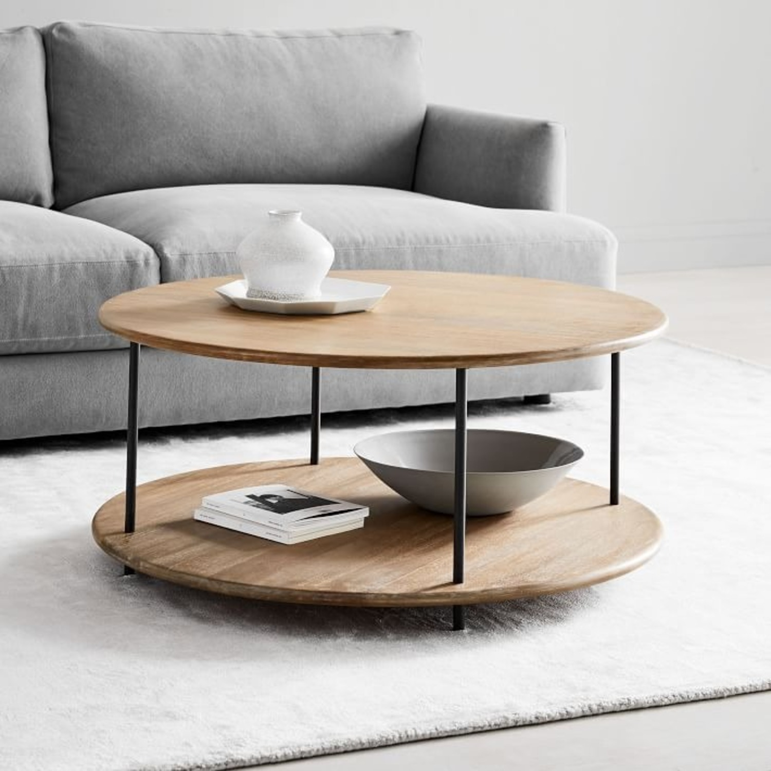 West Elm Tiered Wood Coffee Table - image-2