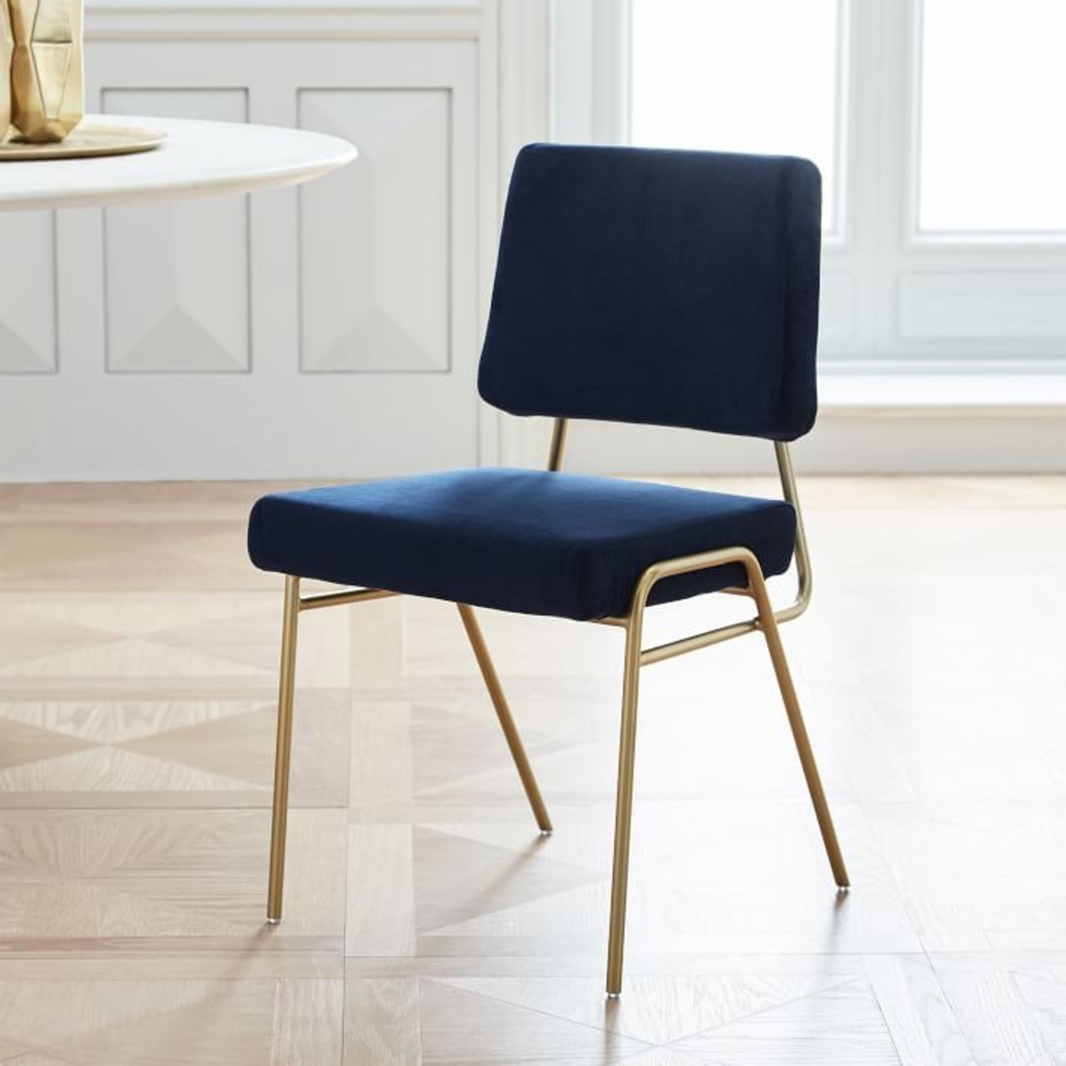 West Elm Wire Frame Upholstered Dining Chair - image-3