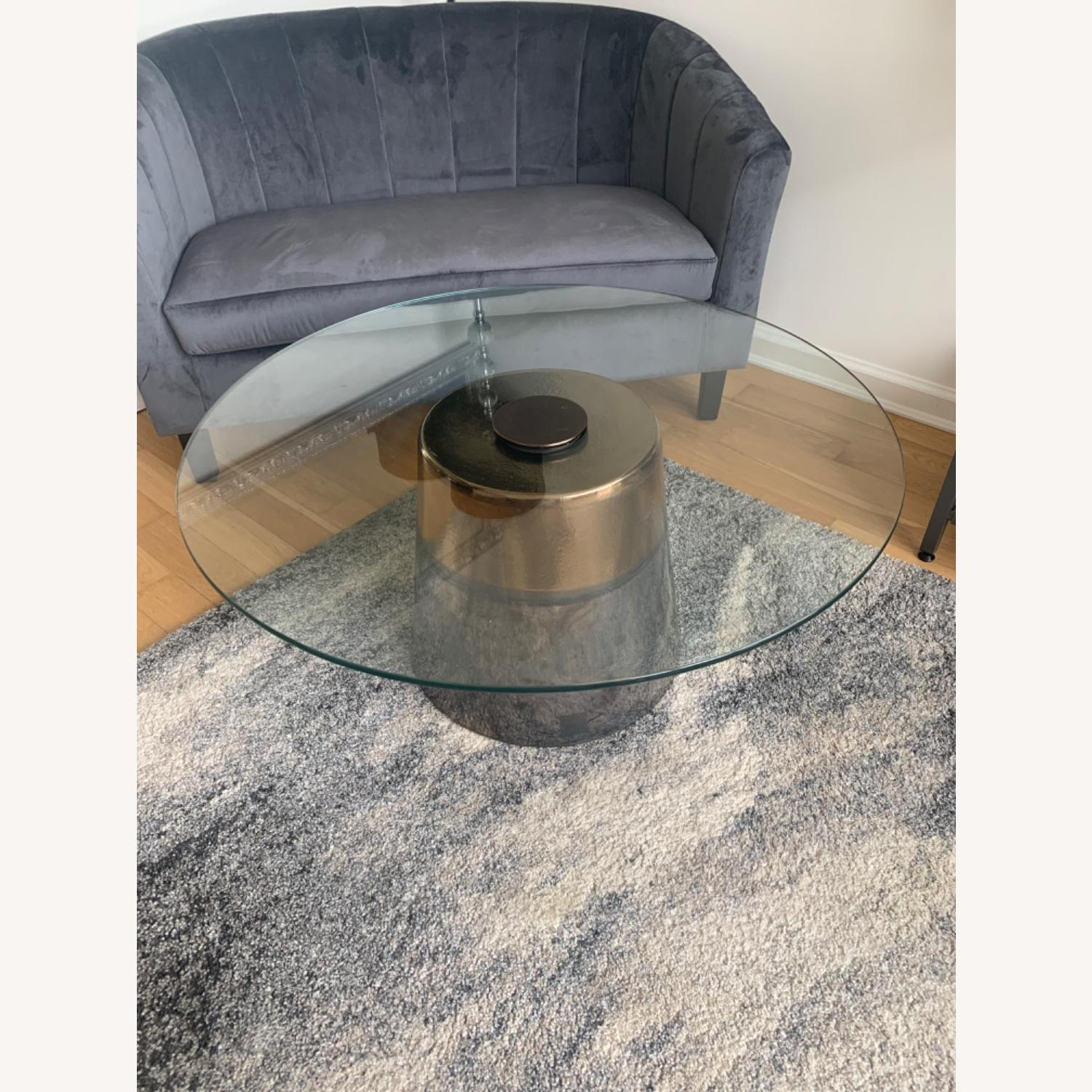 West Elm Glass Round coffee table - image-1