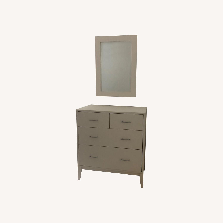 West Elm Modern Narrow Tall Dresser w Mirror White - image-0