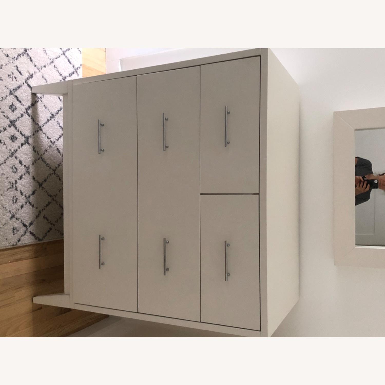West Elm Modern Narrow Tall Dresser w Mirror White - image-3