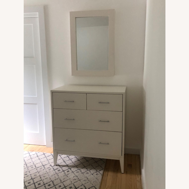 West Elm Modern Narrow Tall Dresser w Mirror White - image-2