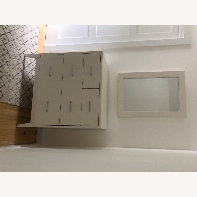 West Elm Modern Narrow Tall Dresser w Mirror White - image-4