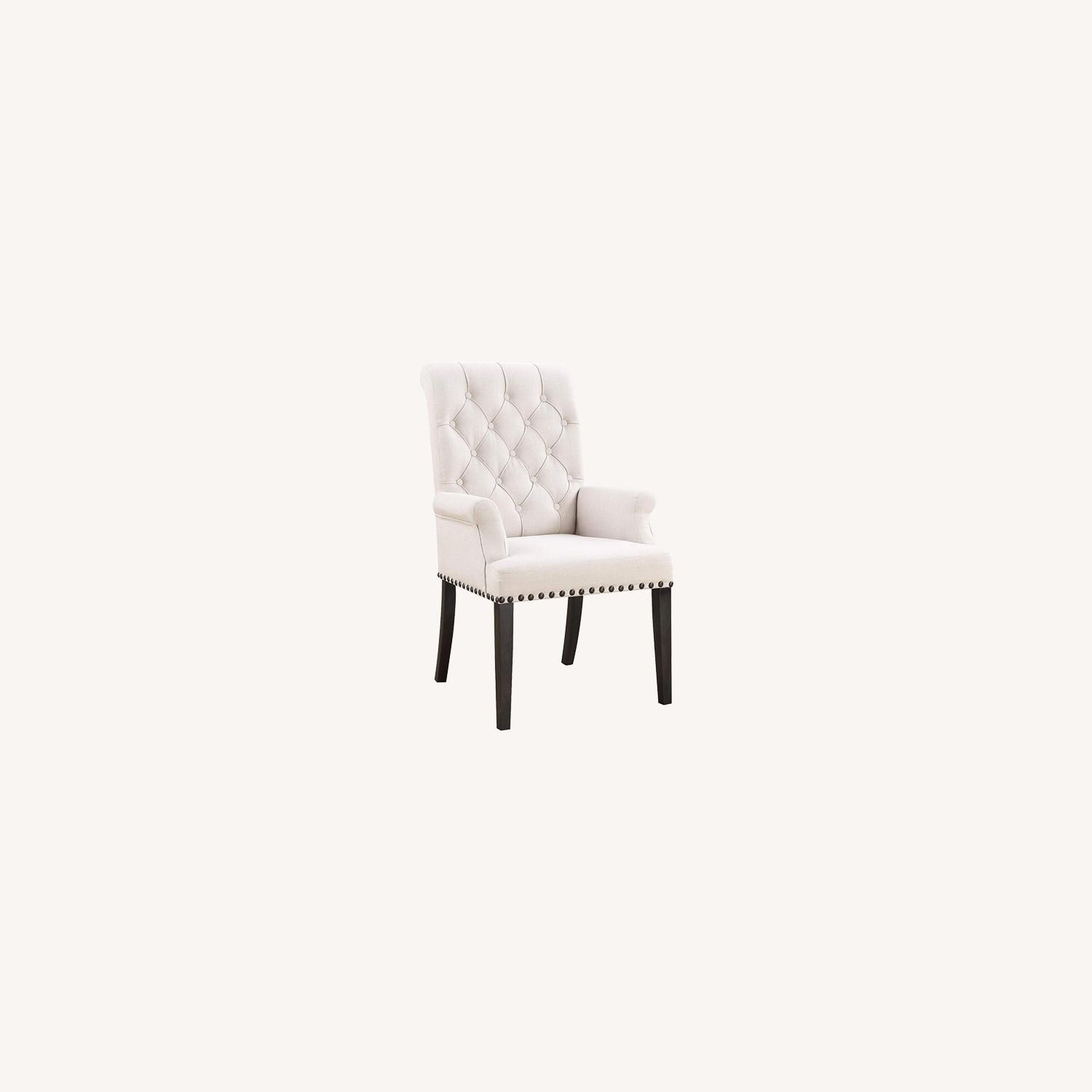 Upholstered Arm Chair In Beige Fabric - image-5