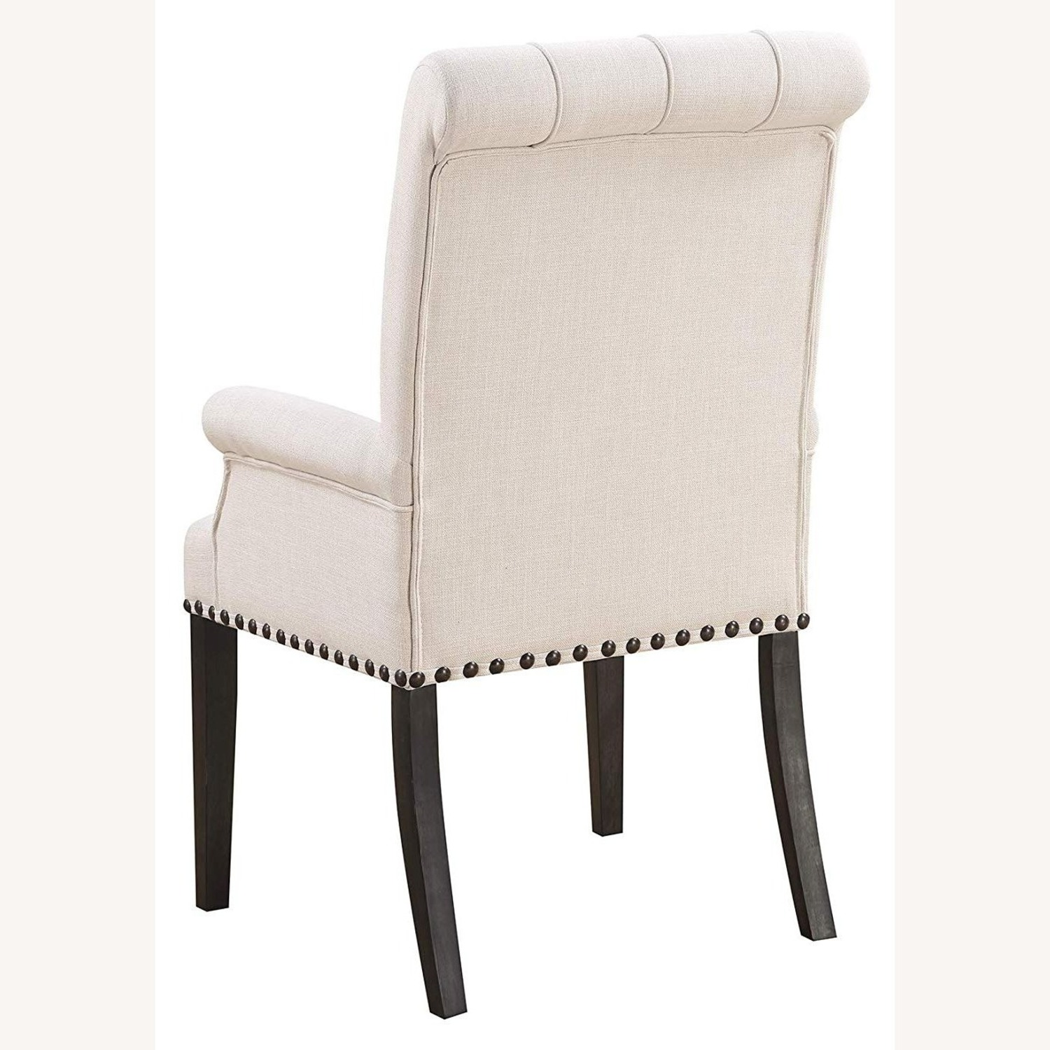 Upholstered Arm Chair In Beige Fabric - image-2