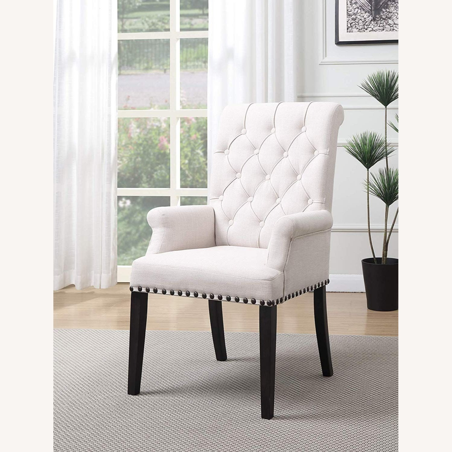 Upholstered Arm Chair In Beige Fabric - image-4