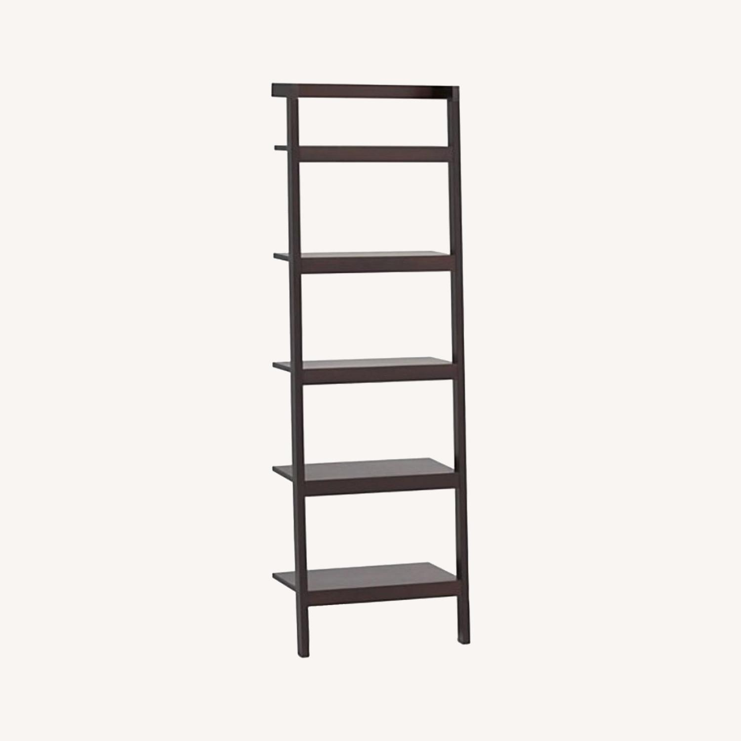 Crate & Barrel Sawyer Mocha Leaning Bookcase - image-0