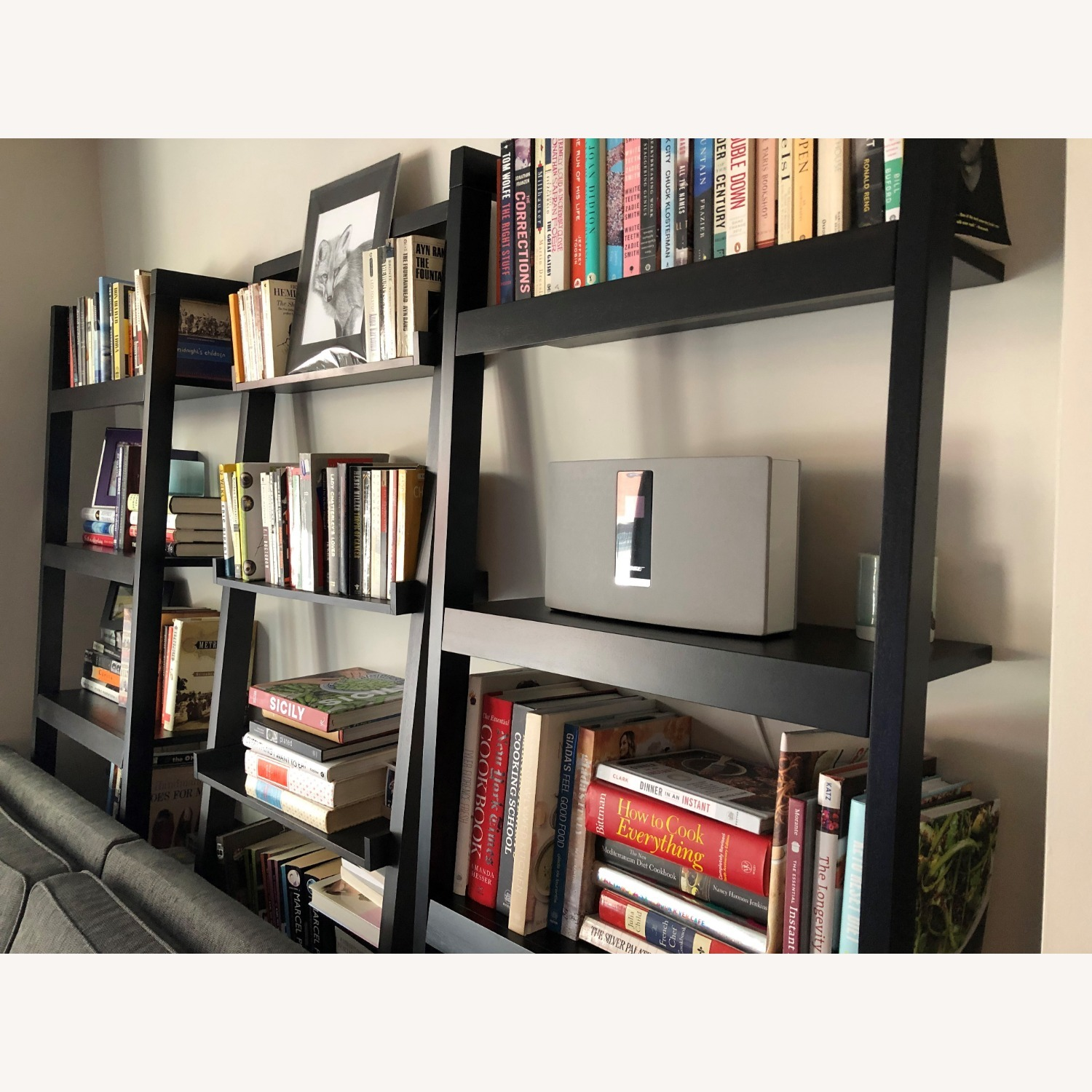Crate & Barrel Sawyer Mocha Leaning Bookcase - image-3
