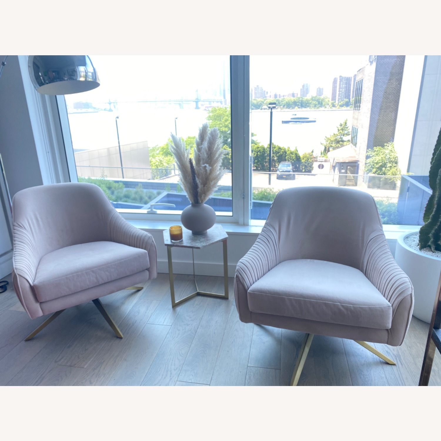West Elm Blush Chairs - image-2