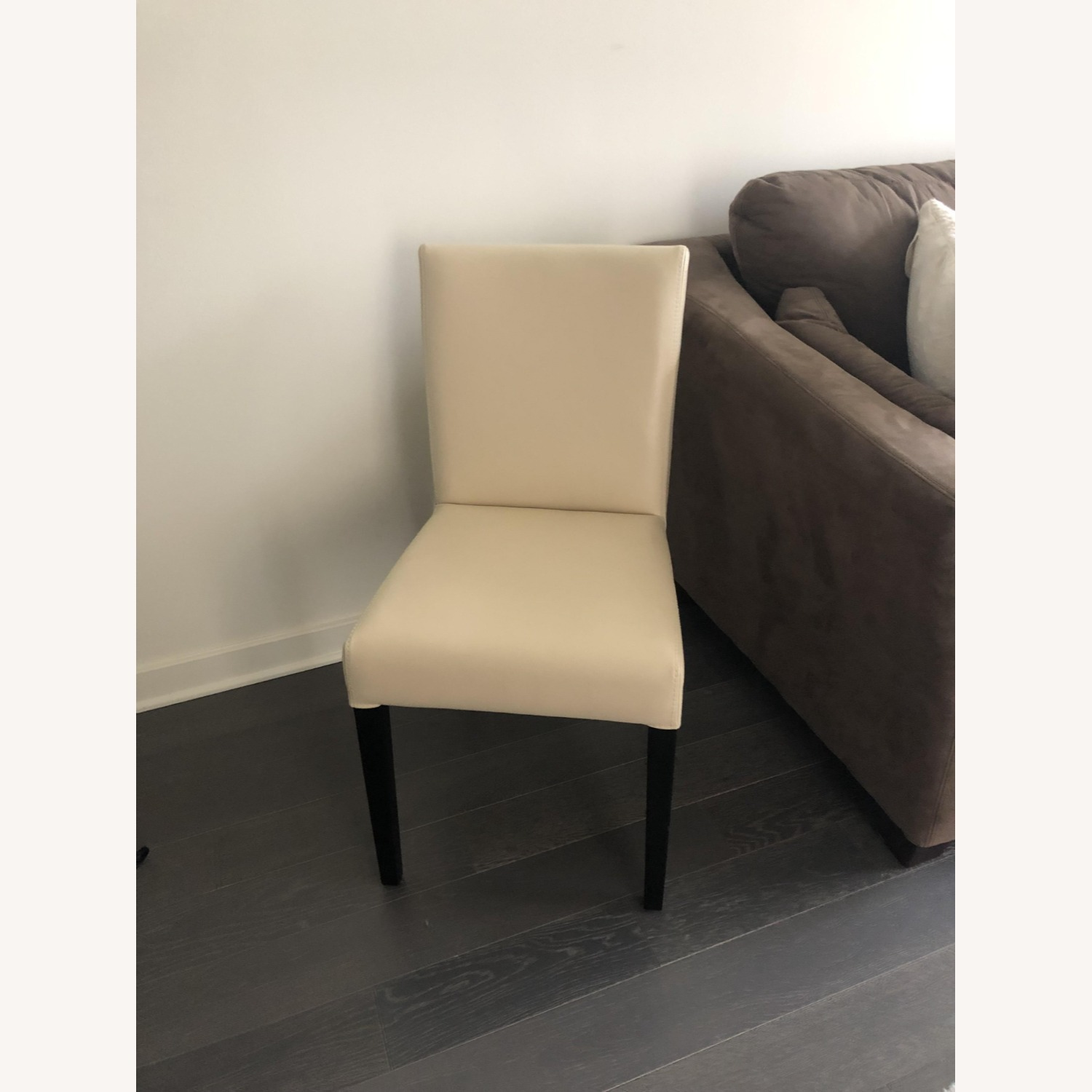 Crate & Barrel Lowe Ivory Leather Dining Chair - image-3
