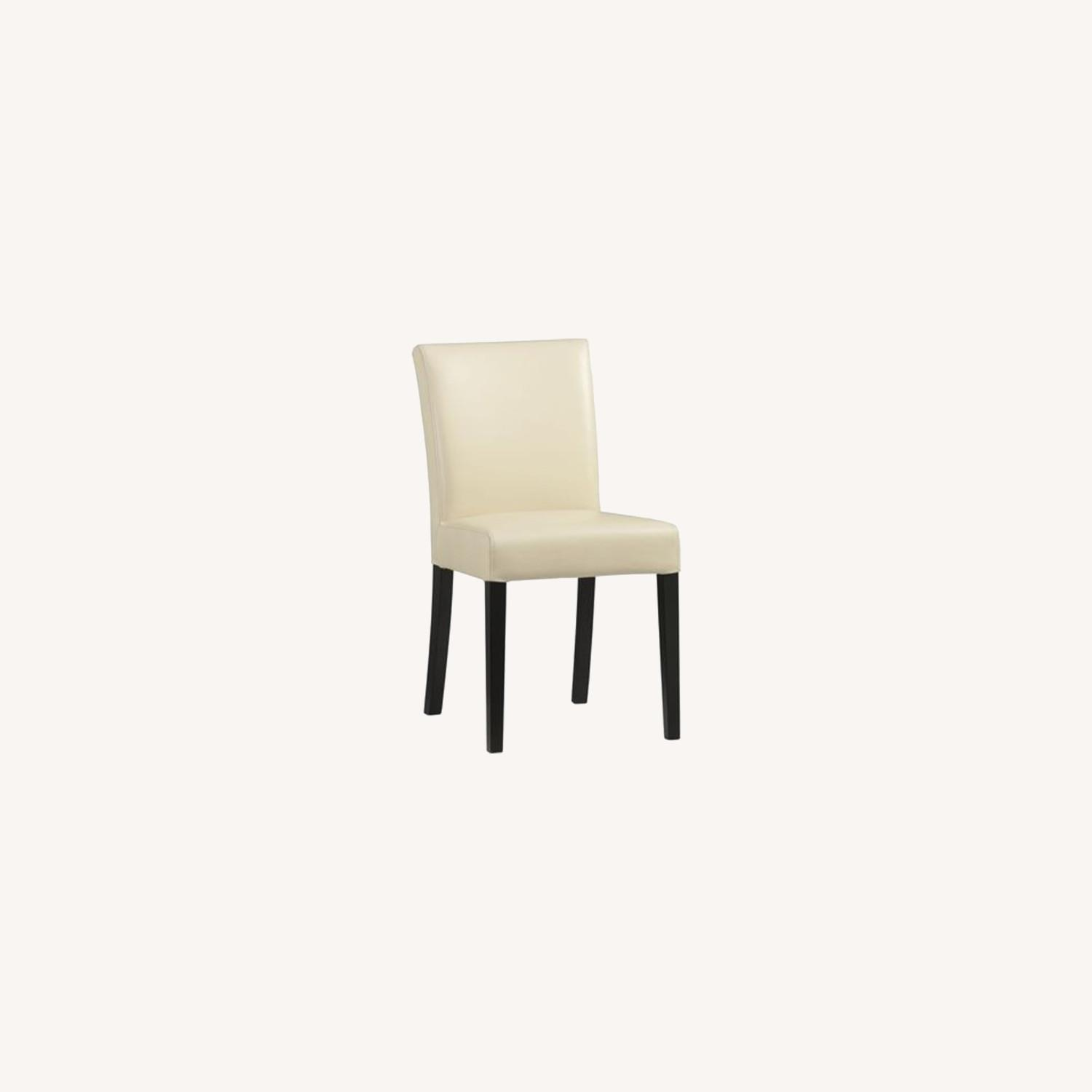 Crate & Barrel Lowe Ivory Leather Dining Chair - image-0