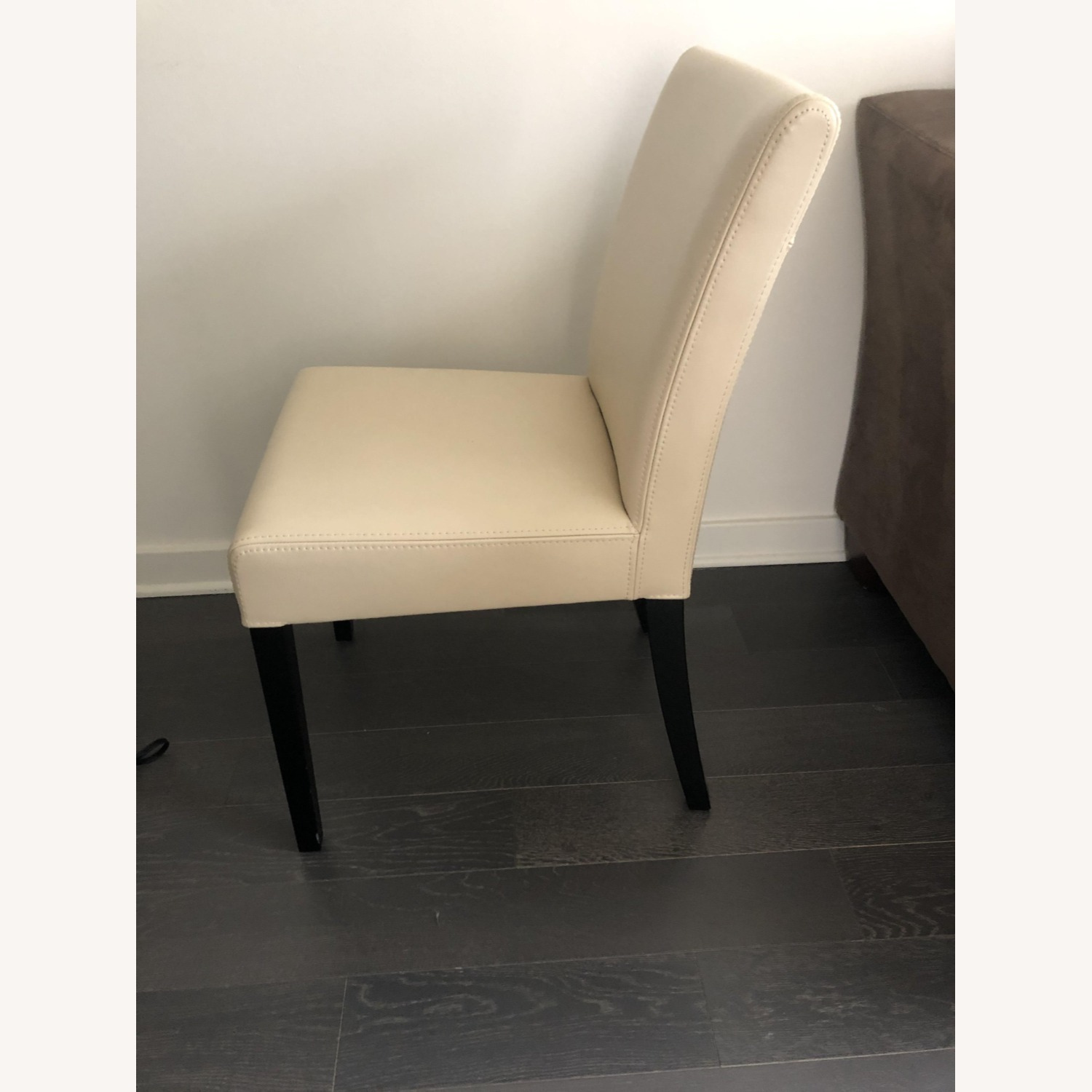 Crate & Barrel Lowe Ivory Leather Dining Chair - image-2