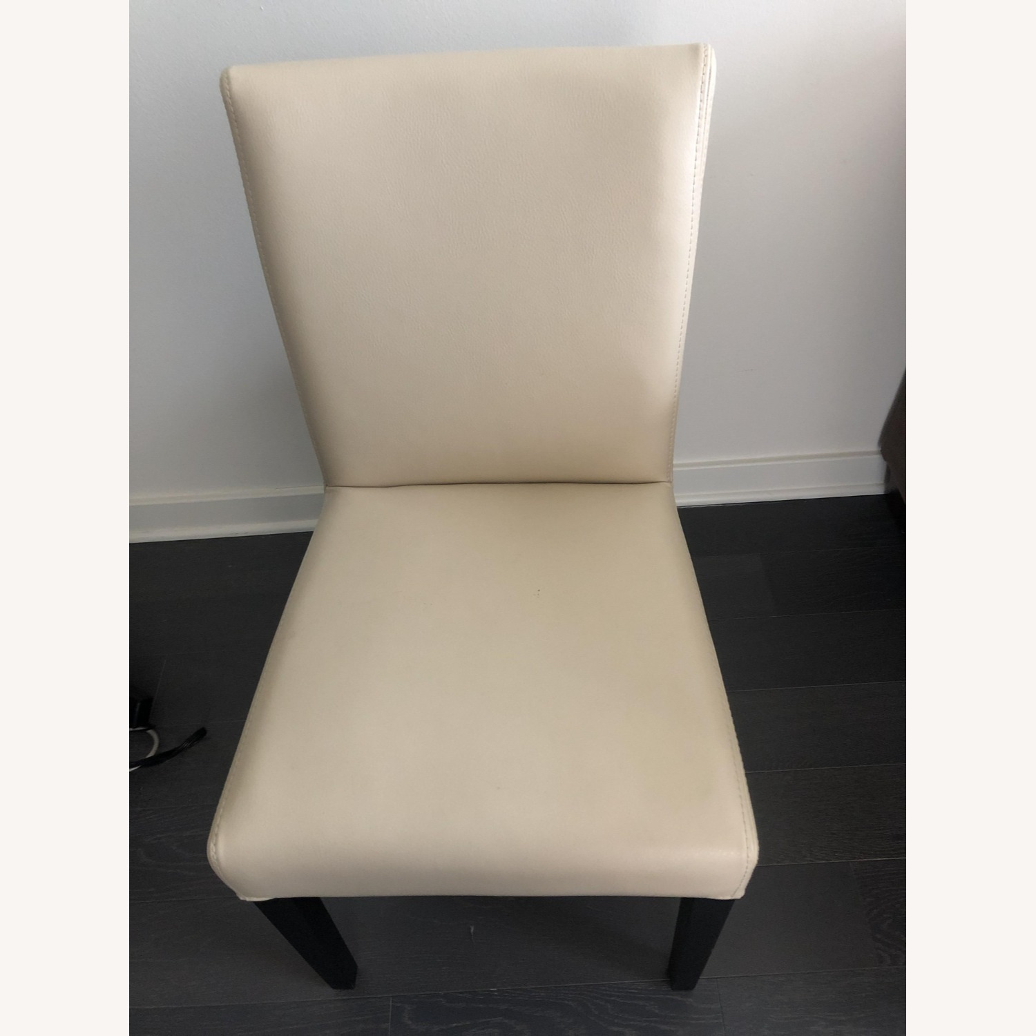 Crate & Barrel Lowe Ivory Leather Dining Chair - image-5