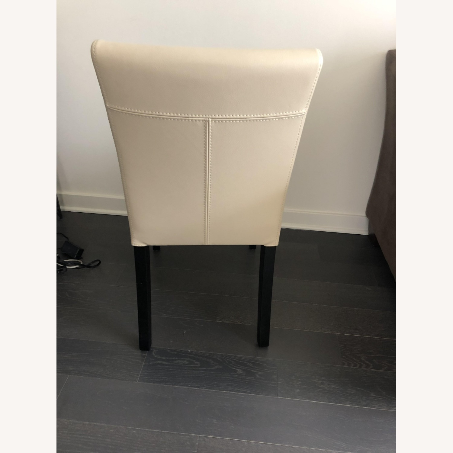Crate & Barrel Lowe Ivory Leather Dining Chair - image-4
