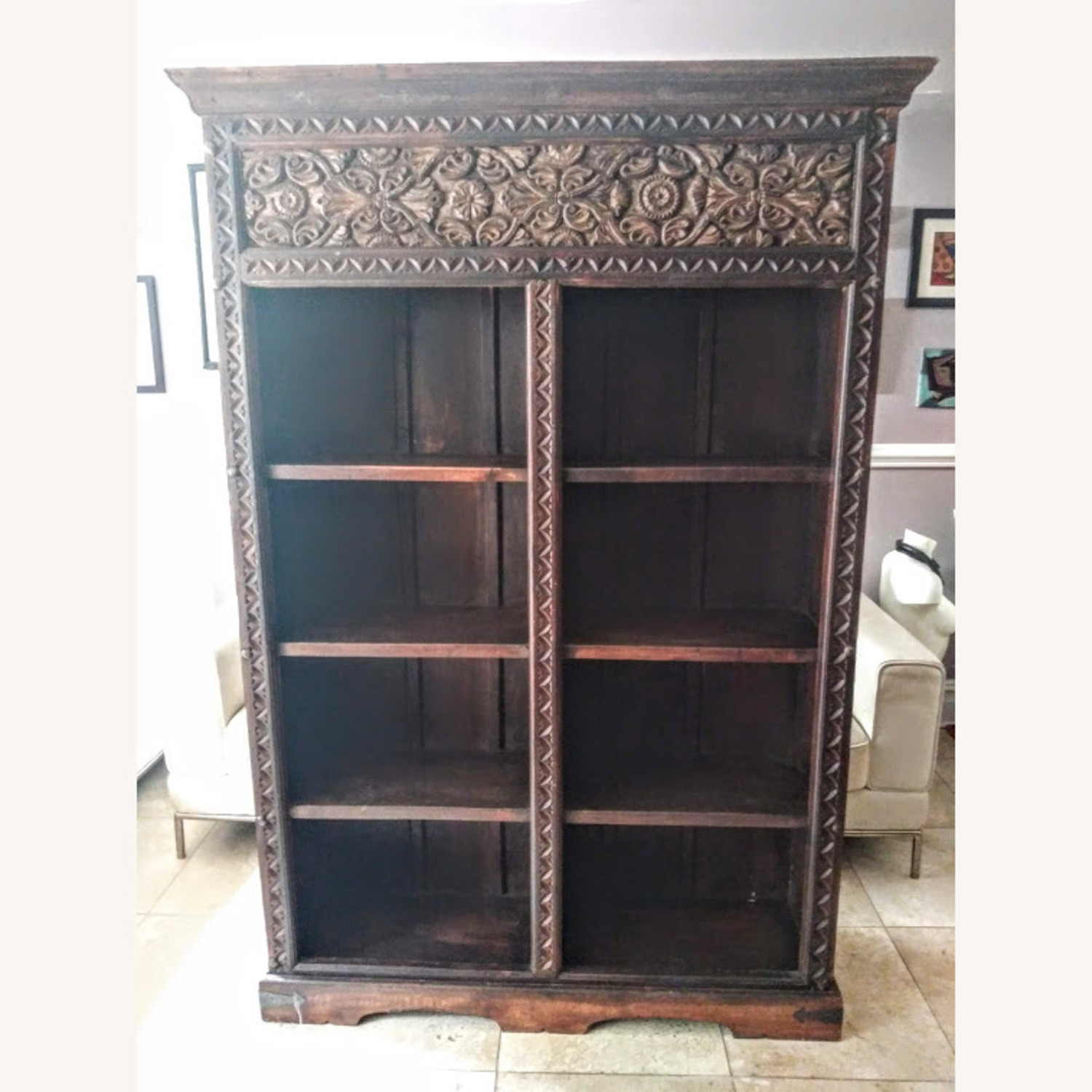 Exquisive Hand Cavred Bookcase - image-2