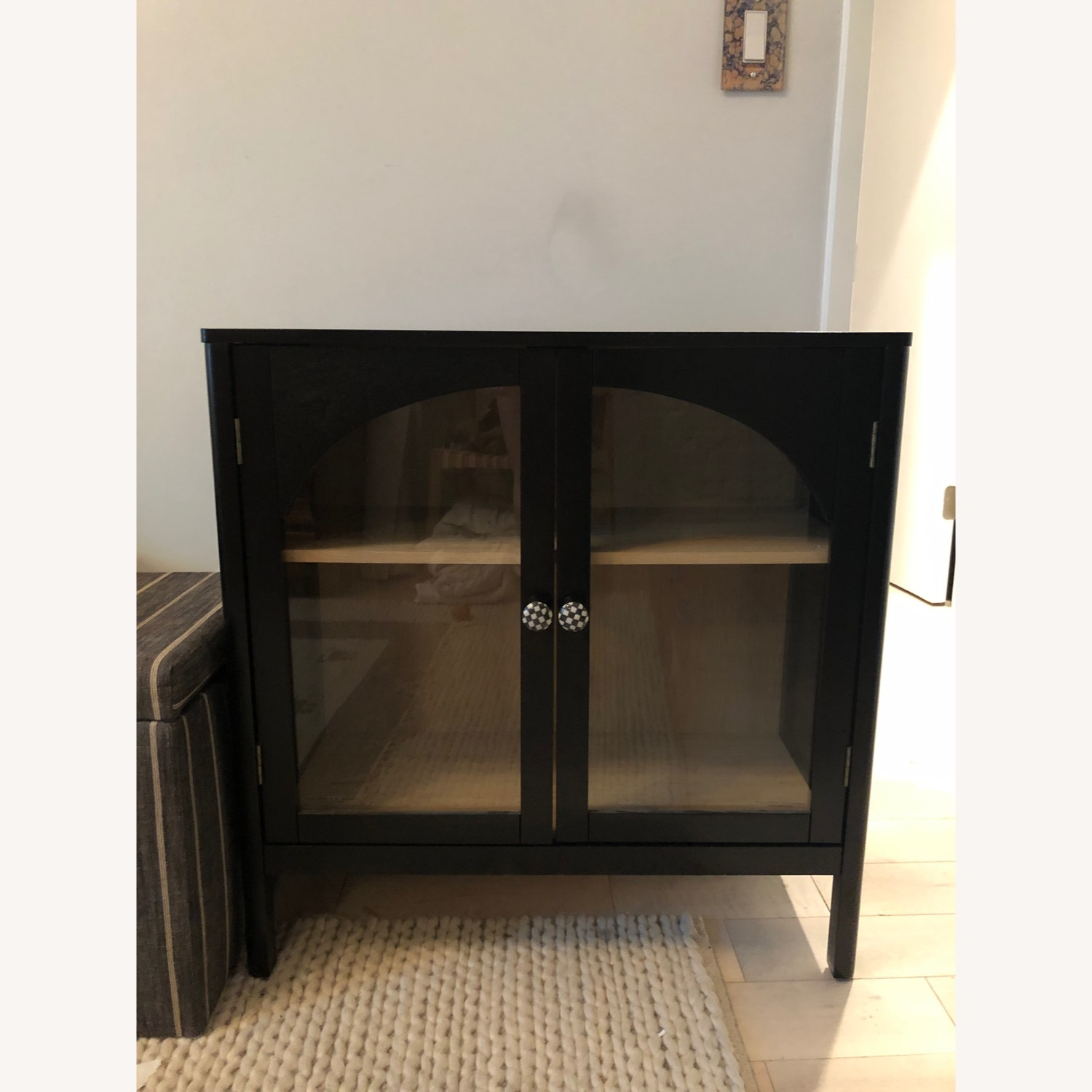 Target Arched Glass & Wood Cabinet w/ Custom Knobs - image-3