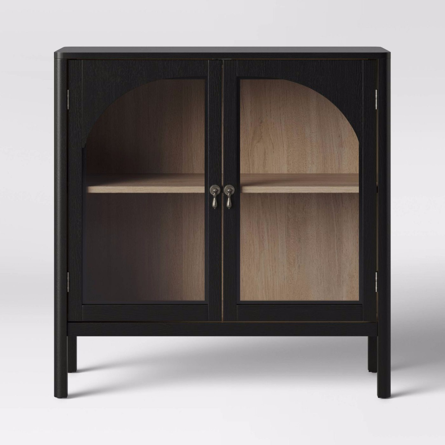 Target Arched Glass & Wood Cabinet w/ Custom Knobs - image-1