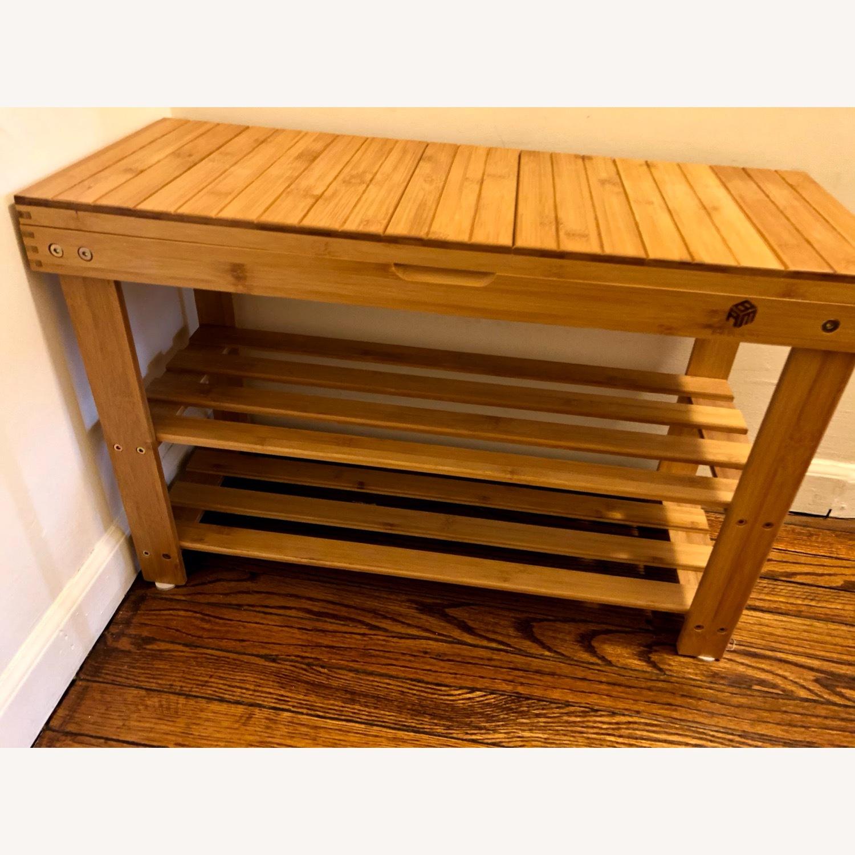 Bamboo Shoe Rack Storage Bench - image-4