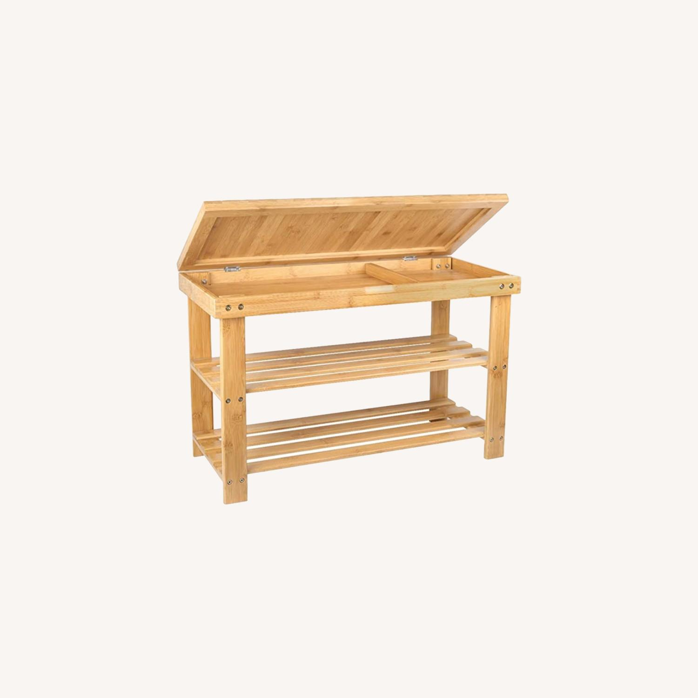 Bamboo Shoe Rack Storage Bench - image-0